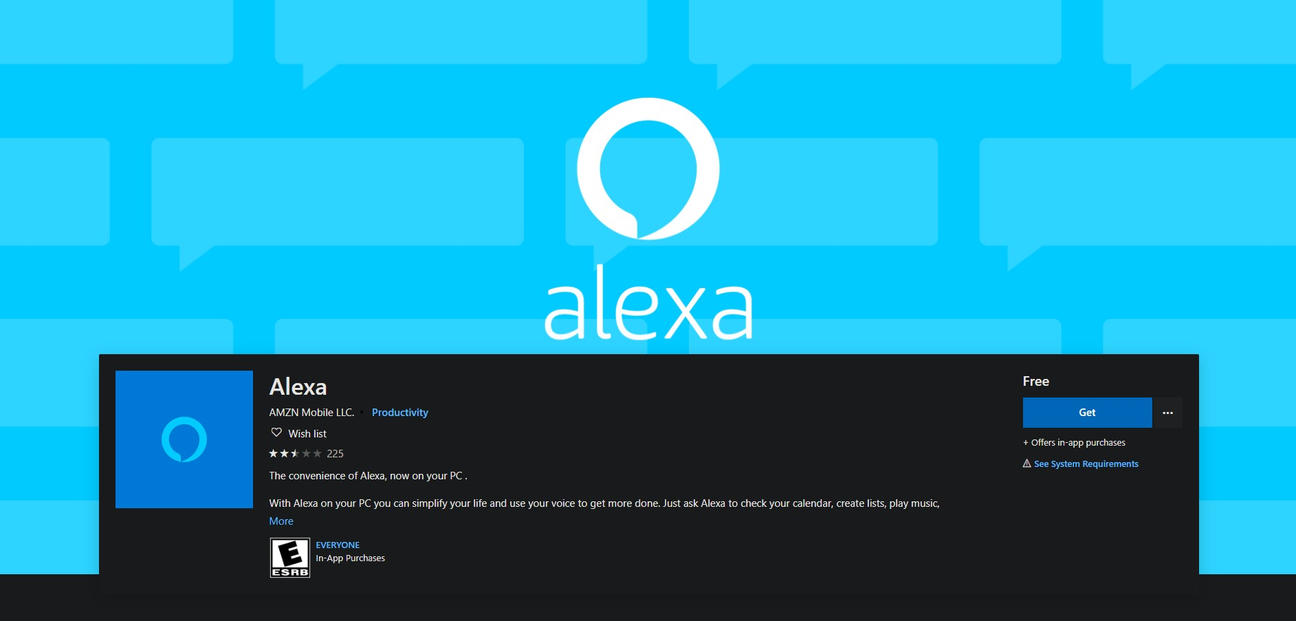 Download Alexa app from Microsoft Windows Store